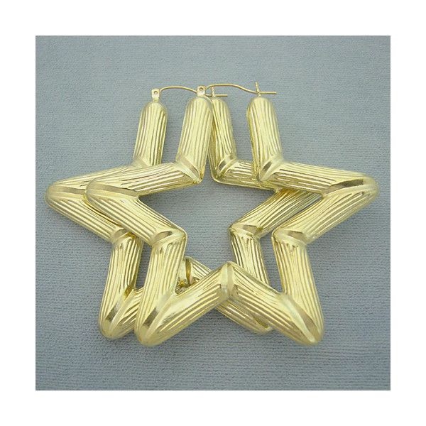 10k Yellow Gold Star Bamboo Door Knocker Earrings Jewelry 2 1 2 Inch Liked On Polyvore Gold Stars Jewelry Gold