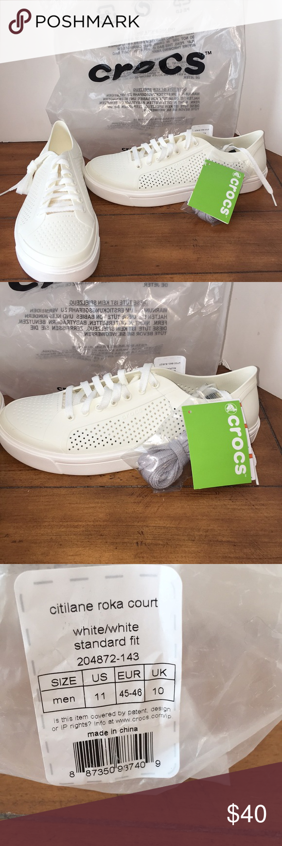 7f10a7e81594 Crocs 🐊 Citilane Roka Court NWT Crocs Citilane Roka court NWT Great  looking white sneaker shoe Comes with 2 pair of laces