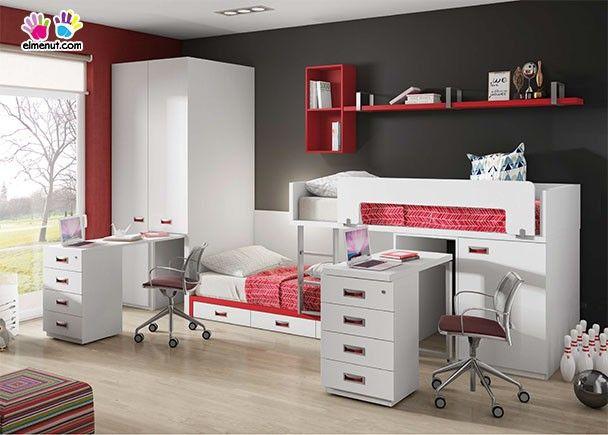 Dormitorio infantil con literas tren armario rinc n y 2 escritorios novedades de mueble - Muebles tren infantil ...