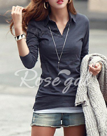 e21687d7e062 Casual Polo Collar Long Sleeves Solid Color T-Shirt For Women T-Shirts |  RoseGal.com Mobile