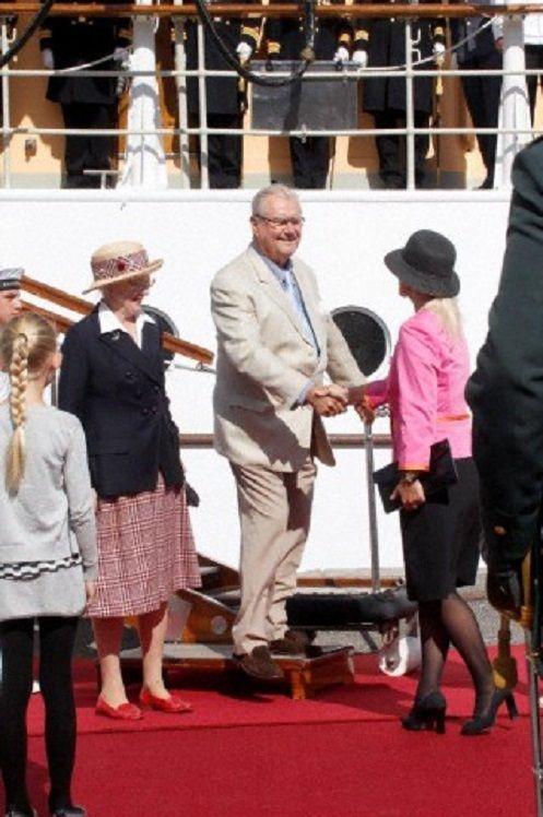 HM Queen Margrethe and HRH Prince Consort Henrik arrive in Aarhus by the royal yacht Dannebrog to take up residence at Marselisborg Castle. Aarhus, 01 July 2014.