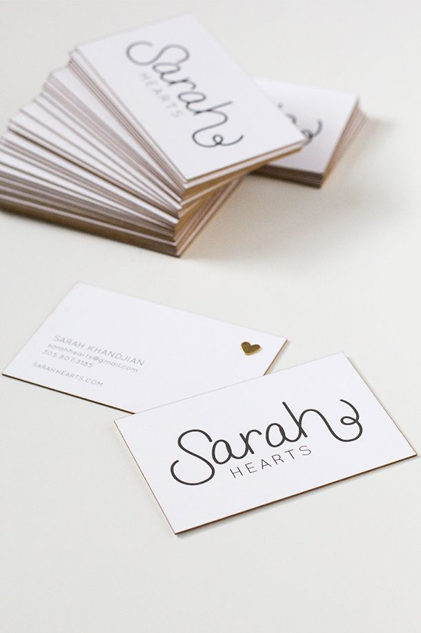diy gold edge business cards  sarah hearts  business