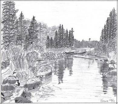 Landscape Drawings In Coloured Pencil Drawing Gallery Landscape Marion Lake Creek Outdoormark Landscape Sketch Landscape Drawings Landscape Pencil Drawings