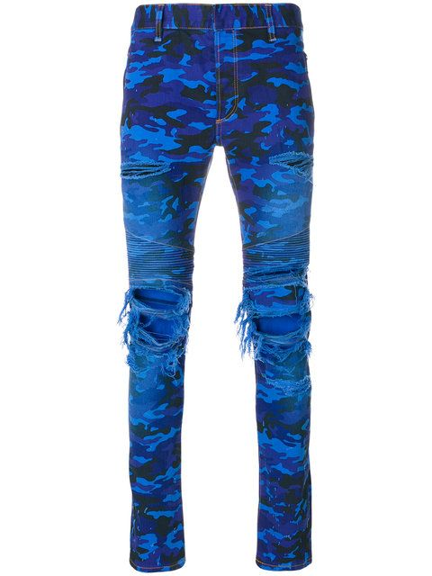 1c465460d9e7d Balmain distressed camouflage jeans | Sartorial Delights ...