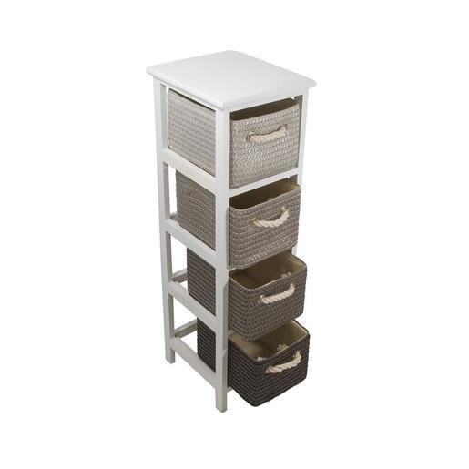 Meuble 4 paniers paulownia 25 x 29 x 86 cm gris à découvrir dans le rayon accessoires salle de bain chez lafoirfouille fr ✓ plus de 220 magasins
