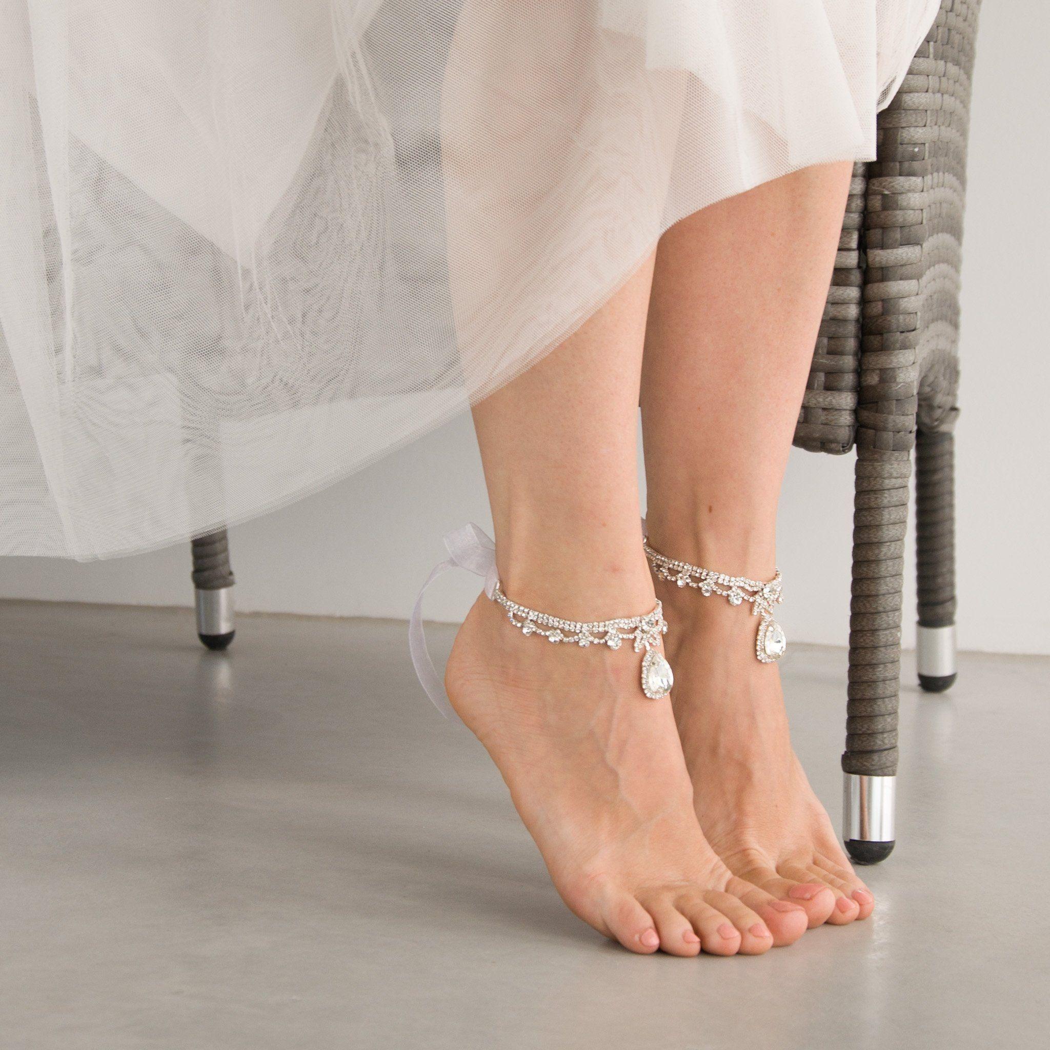 Crystal Ankle Bracelets For Beach Wedding Bride Summer Anklets