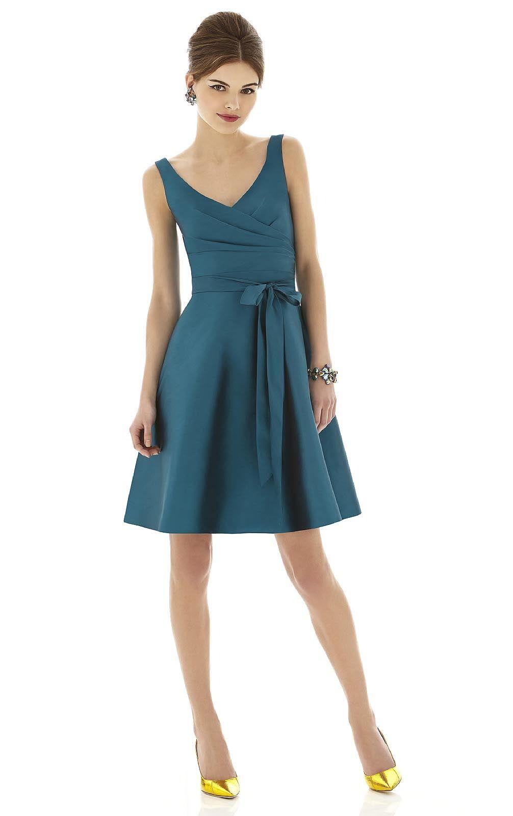 Wedding sleeveless dresses bridesmaid dressesblue sash shoulder