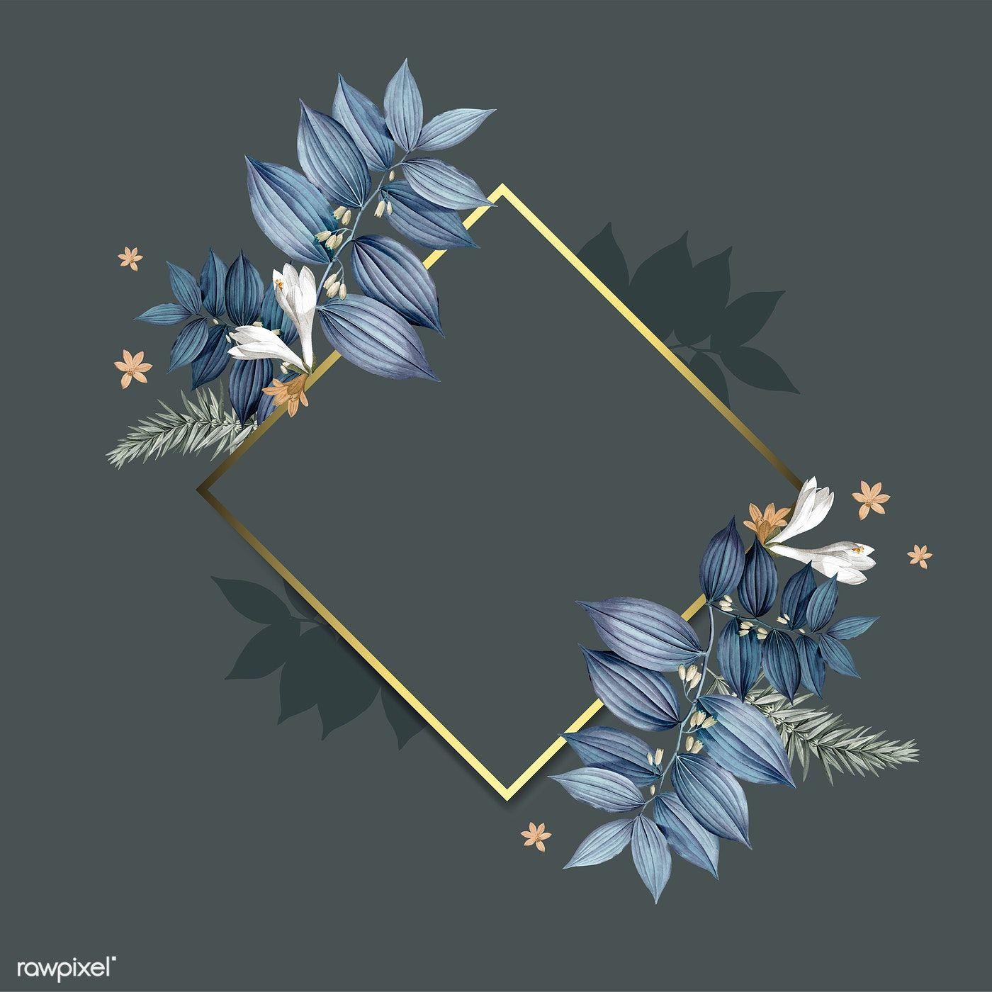 Download premium illustration of empty floral golden frame