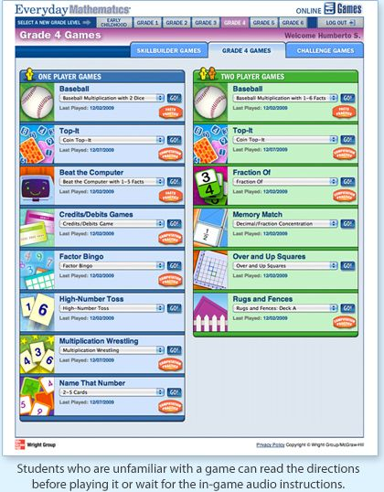 Online Math Games For Everyday Math Everyday Math Everyday