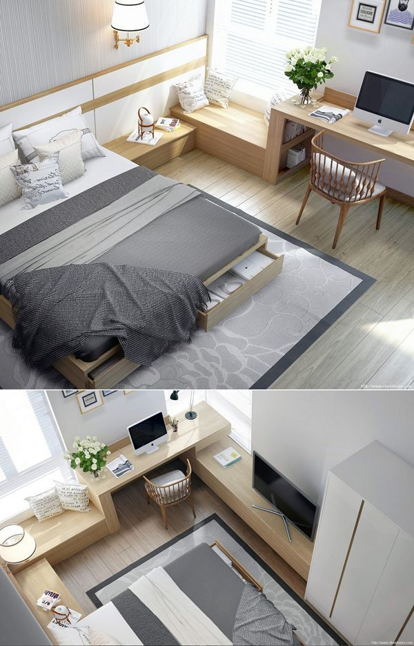 This Bedroom Layout Is Such A Great Way To Utilise A Small Area