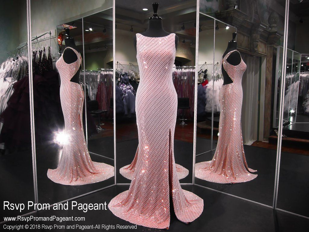 Blush high neckline open back with slit prom dress slit prom