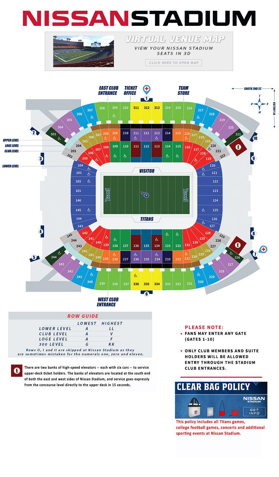 Nissan Stadium Seating Guide.jpg (960×1642) Tennessee