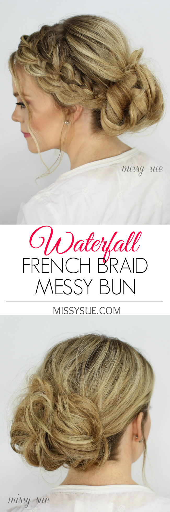 Waterfall French Braid Messy Bun | Waterfall french braid, Braided ...