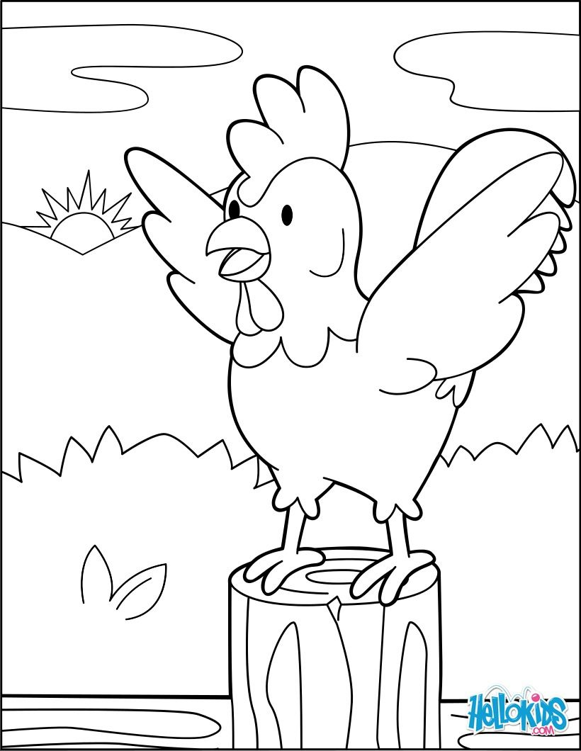Rooster At The Dawning Coloring Page Cute And Amazing Farm