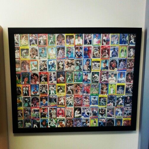 brads baseball cards framed for his work office just need a little spray adhesive