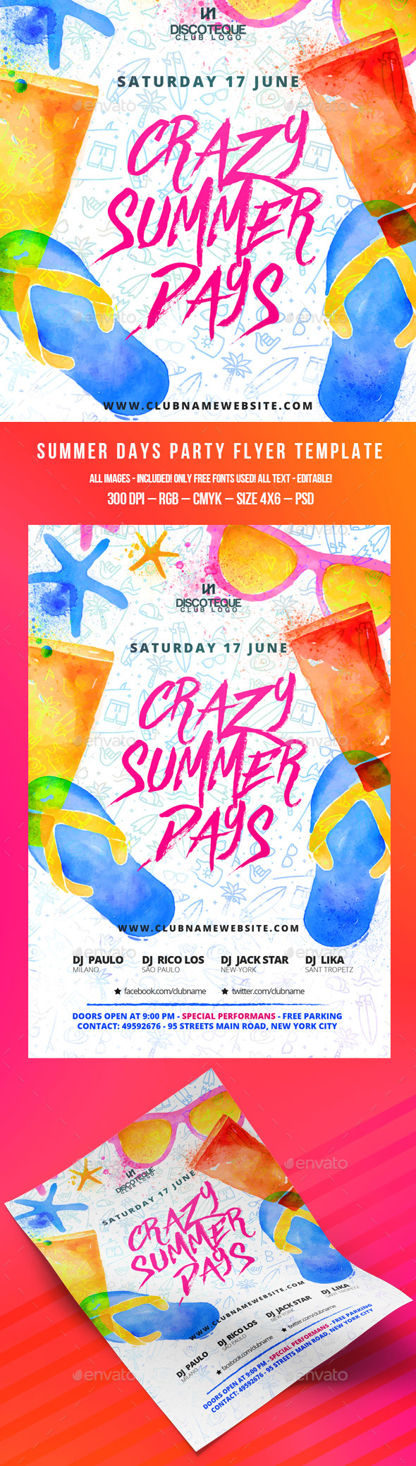 Summer Party Flyer Template PSD. Download here: http://graphicriver.net/item/summer-party/15730887?ref=ksioks