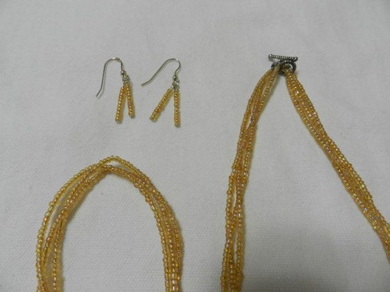 Gold Bead Braided Jewelry Set by MelissasUniqueDesign on Etsy, $10.00