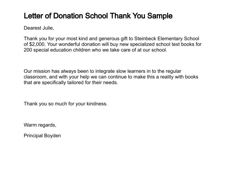 Letter Donation School Thank You Sample Letters For Free Example