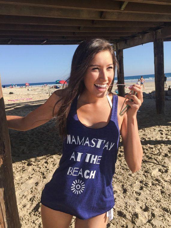 Namast'ay At The Beach Indigo & White Tank Funny by GabeeTees