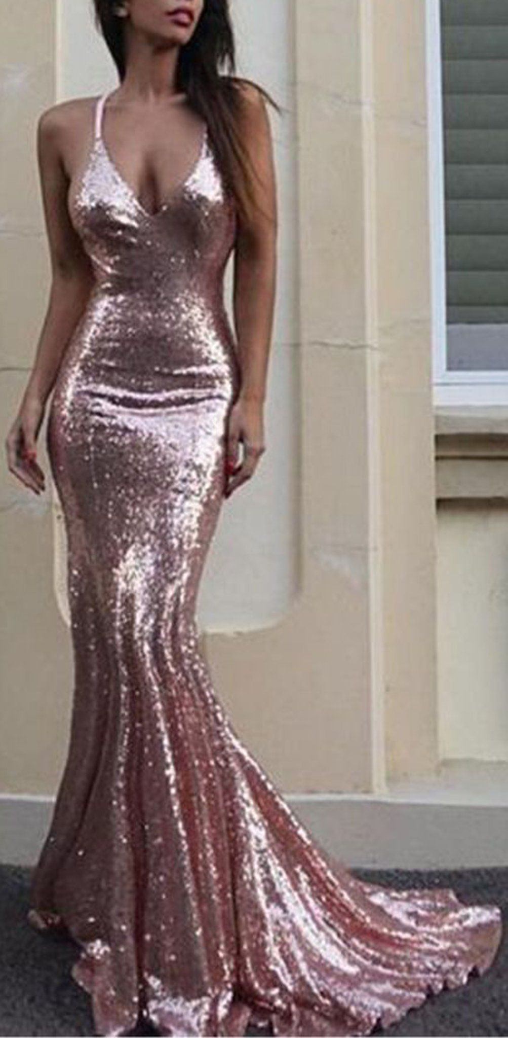 Fancy new years eve outfit ideas rose gold sequin gown