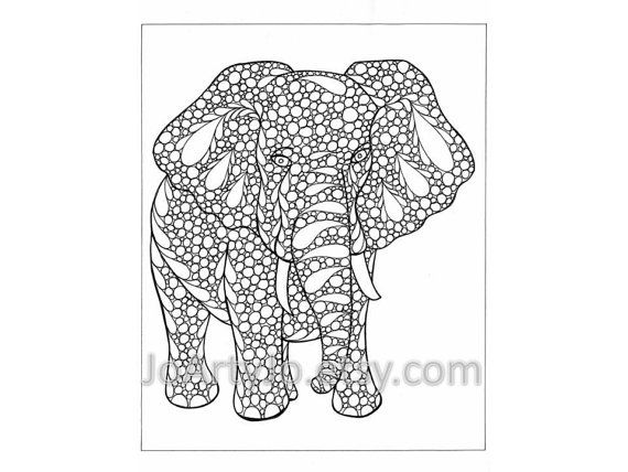 Coloring Page Elephant Zentangle Inspired Printable by JoArtyJo