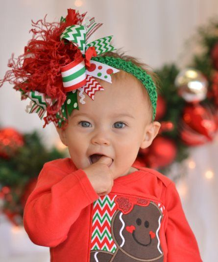 Merry Christmas Over The Top Hair Bow Headband Red Green