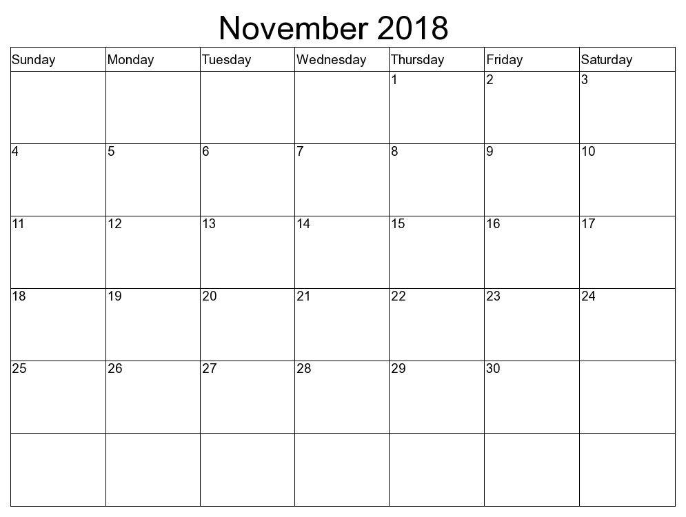 November 2018 Blank Templates To Print Calendar Designs