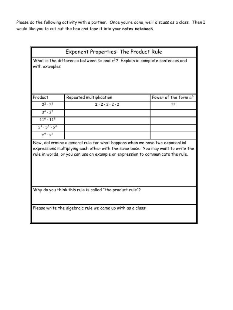 Worksheets That Help A Student Discover The Rules For Exponents For Herself Don T Memorize The Rules Until You Exponent Rules Exponent Worksheets Product Rule [ 1024 x 768 Pixel ]