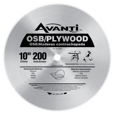 Avanti 10 In X 200 Teeth Osb Plywood Saw Blade A10200x Osb Plywood Saw Blade Circular Saw Blades