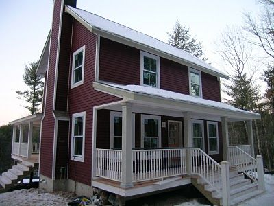 Farmhouse Painted Benjamin Moore Cottage Red Oh My Add Some Stone And This Could Be