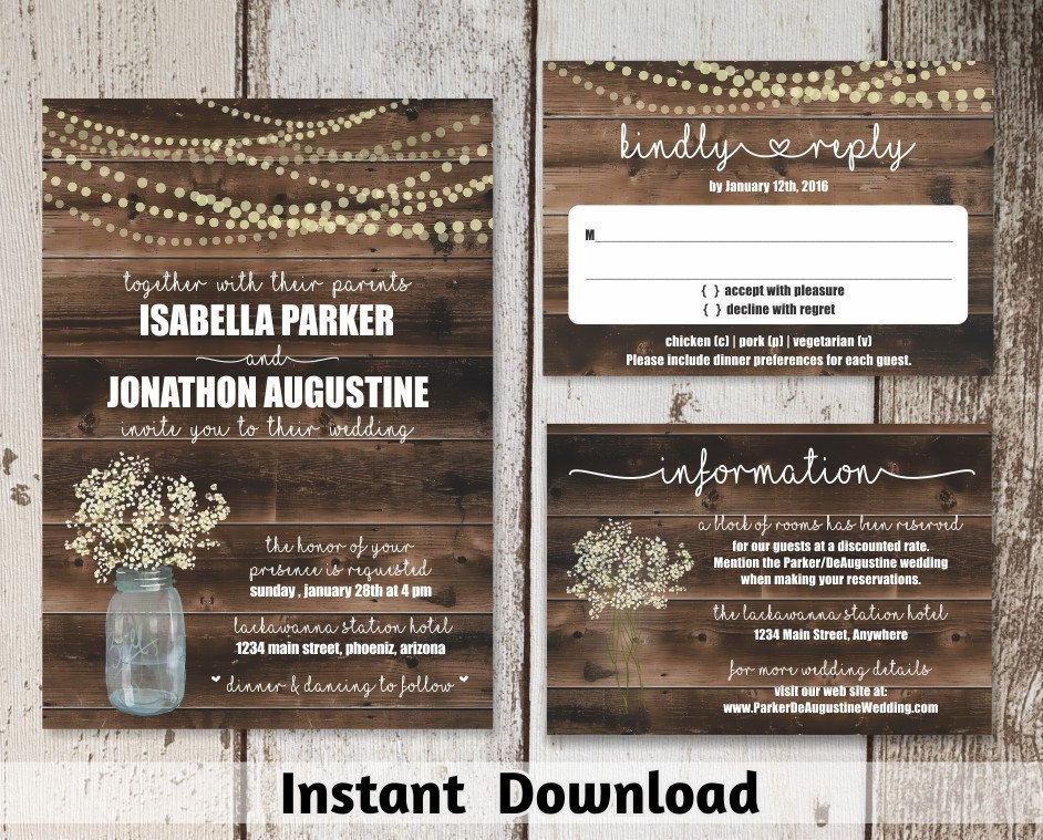 Wedding Invitation Template Rustic Baby S Breath Mason Jar Fair Wedding Invitation Templates Rustic Wedding Invitations Rustic Wedding Invitation Templates
