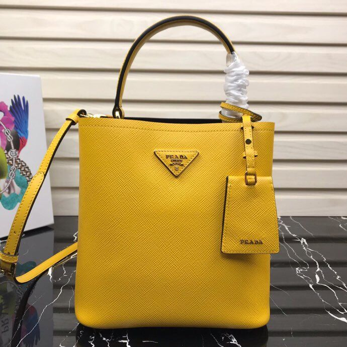 676e3d7e739b Prada North South Double Bag Yellow Luxury Bags, Luxury Handbags, Classic  Handbags, Prada