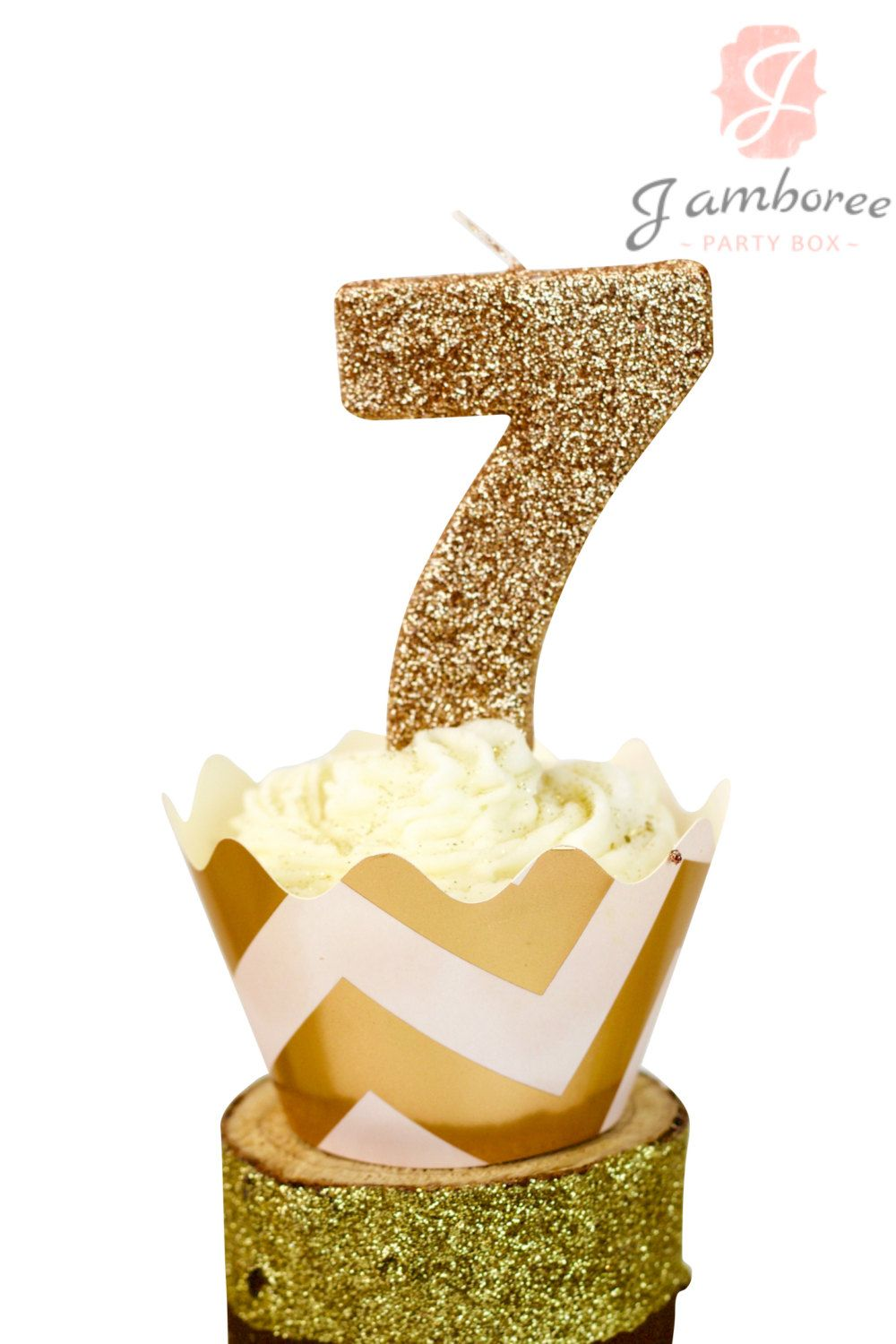 3 Glitter Rose Gold Number 7 Birthday Candle Giant Seventh