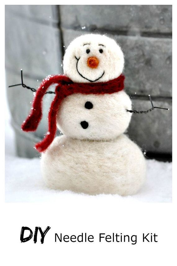 Snowman needle felting kit: (beginner)  Included in this kit: ~enough wool to make a 5 inch tall snowman ~Wire for arms ~black wool for eyes and