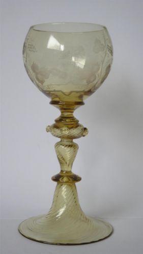 RARE ANTIQUE ROEMER CUT ENGRAVED STEM GLASS ROMER RUMMER ROMER STEMWARE PERFECT…
