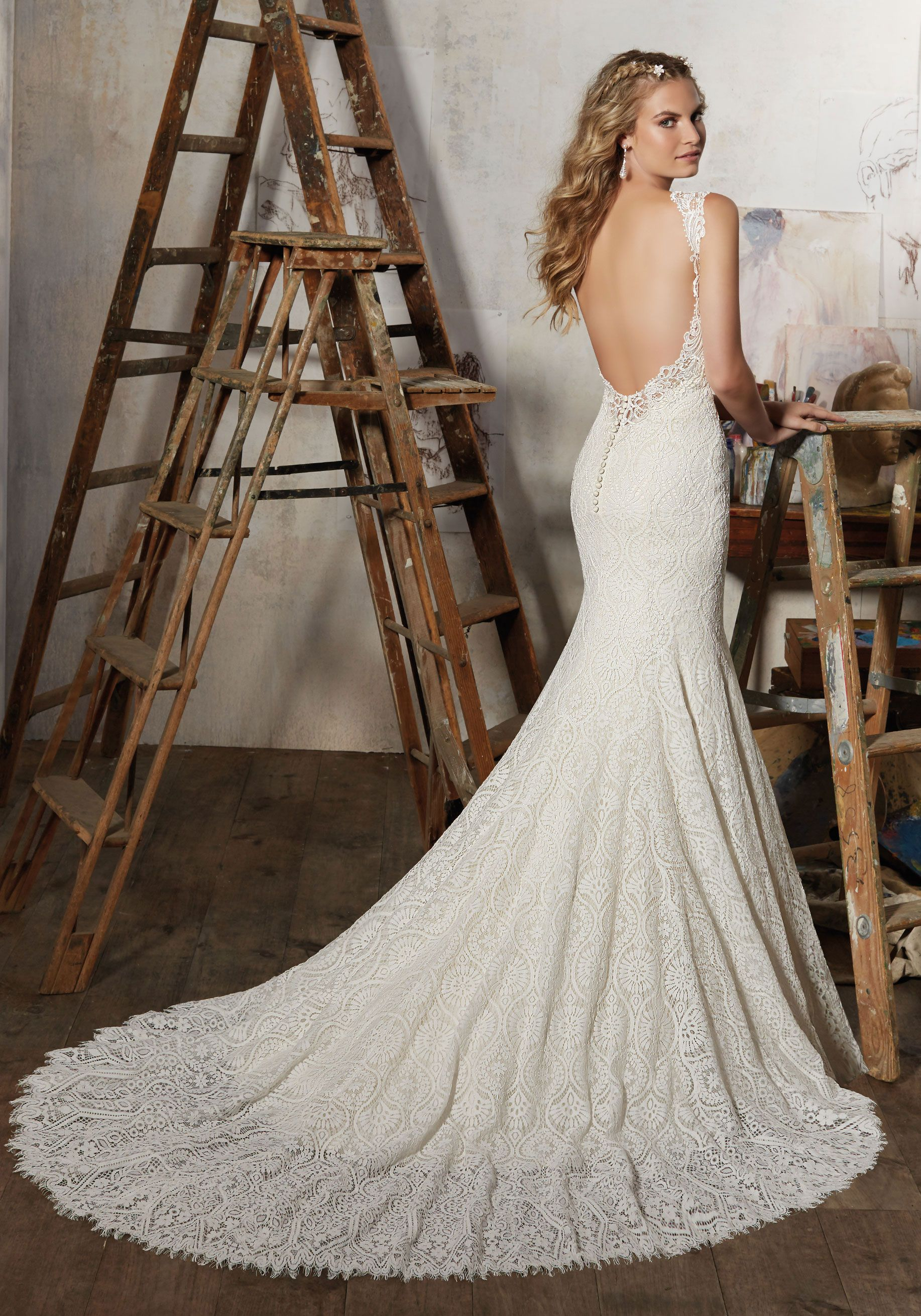 Best Stunning Wedding Dress Made of Allover Vintage Lace with Venice Lace Trim Open Back and