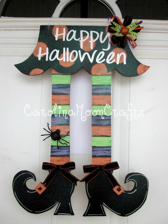 Witch Legs Door Decor Witch Legs Wreath by CarolinaMoonCrafts - pinterest halloween door decor