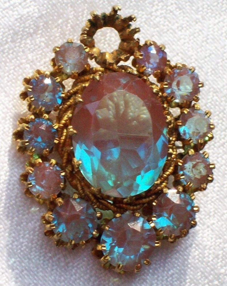 f48e399adc2d8 ANTIQUE JEWELLERY VICTORIAN CZECH LARGE SAPHIRET BROOCH/PIN SPARES ...