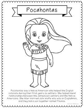 Pocahontas Coloring Page Craft Or Poster With Mini Biography