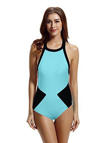 ada9df355be69 zeraca Women s Color Block High Neck One Piece Swimsuit M... https ...