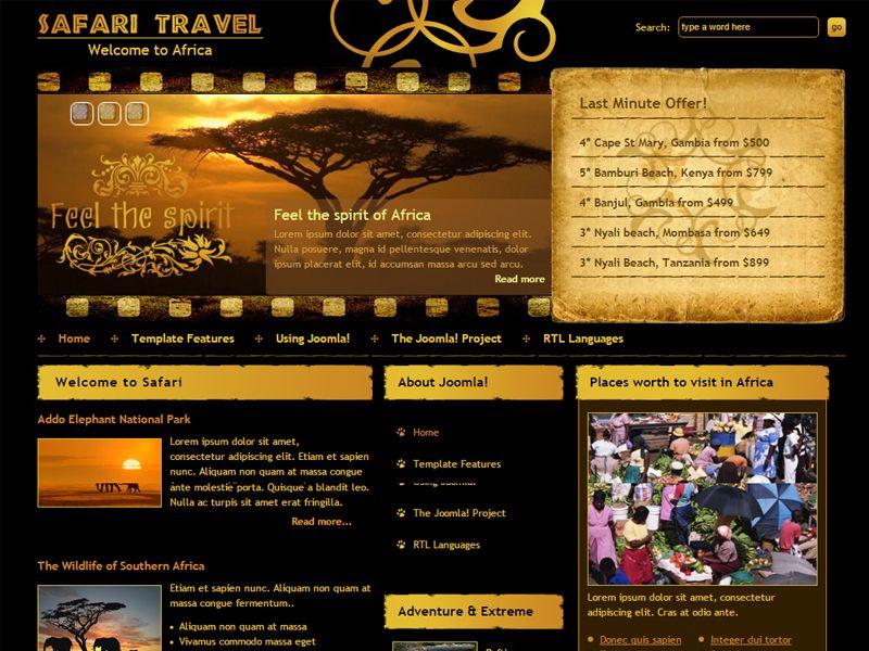 DJ Safari Free Travel Joomla Template In the golden rays of the sun - small sun template