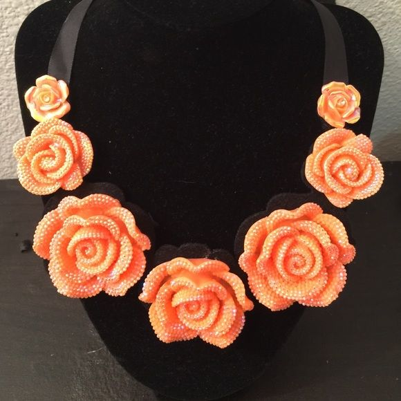 Orange Ribbon Shimmery Flower Necklace Adorable......never worn Jewelry Necklaces