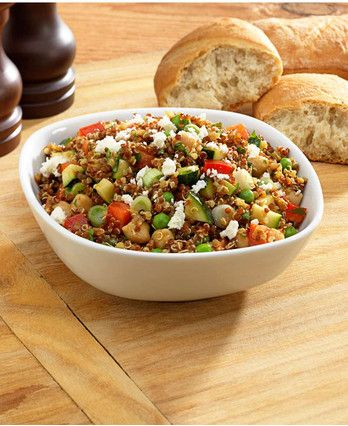 Curry Quinoa Salad -- Quinoa cooks while you're chopping a coup of veggies, and you're done! Easy meal.
