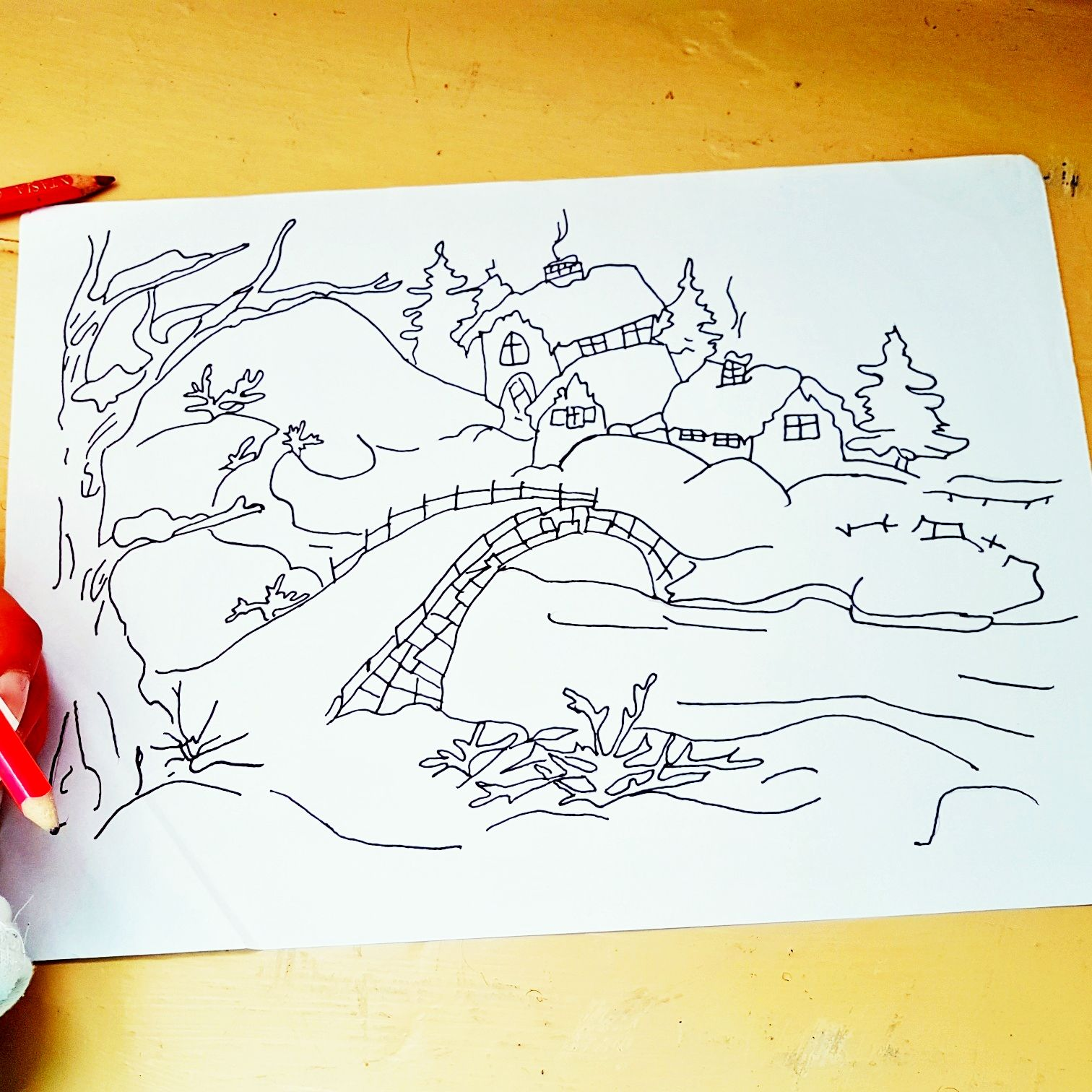 Meine Zeichnung von einer Schneelandschaft
