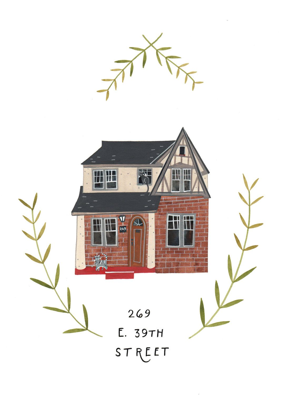 reserved for kate s custom illustrated house portrait 150 00