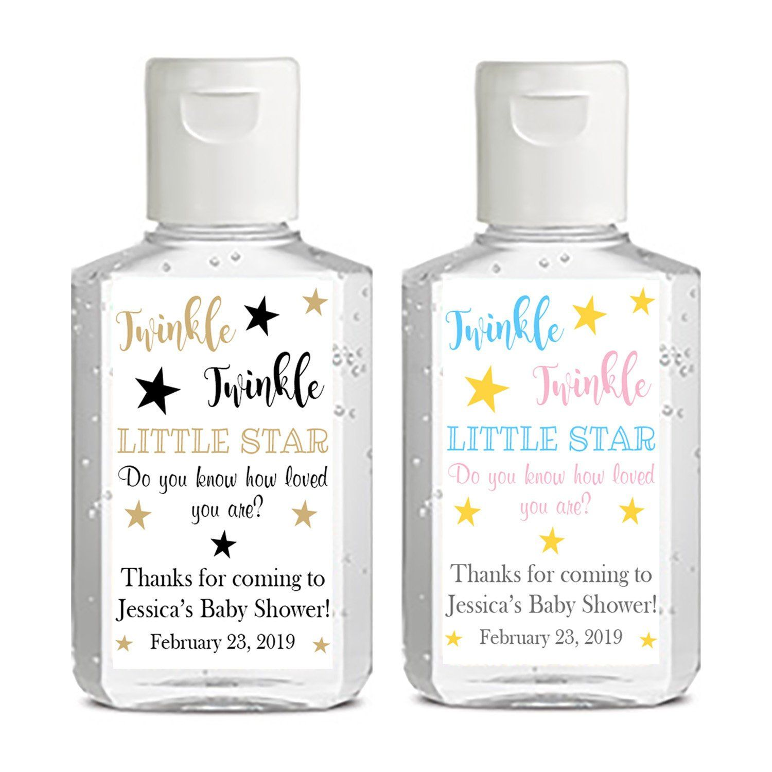 Personalized Mini Hand Sanitizer Labels Pink And Gold For Baby