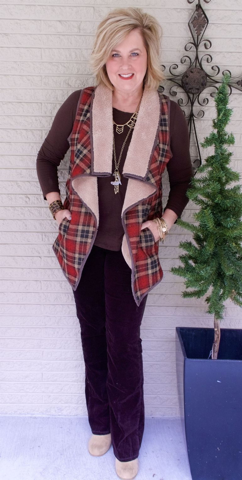 Red flannel vest womens   IS NOT OLD  STYLING A SHERPA VEST  FASHION OVER   Plaid