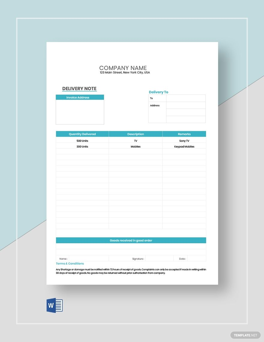 Editable Delivery Note Notes Template Templates Printable Free