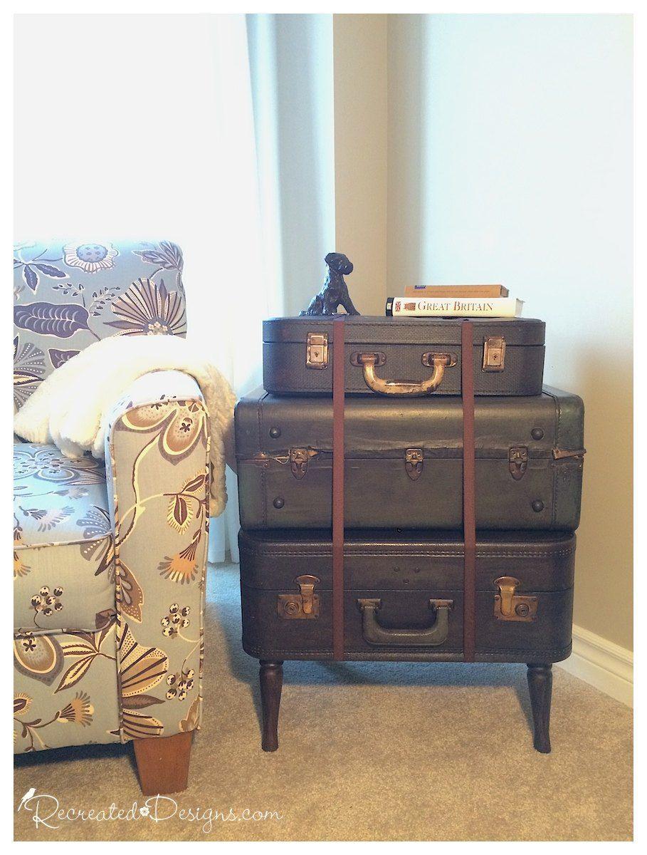 Vintage Suitcase Side Table Salvaged Furniture Suitcase