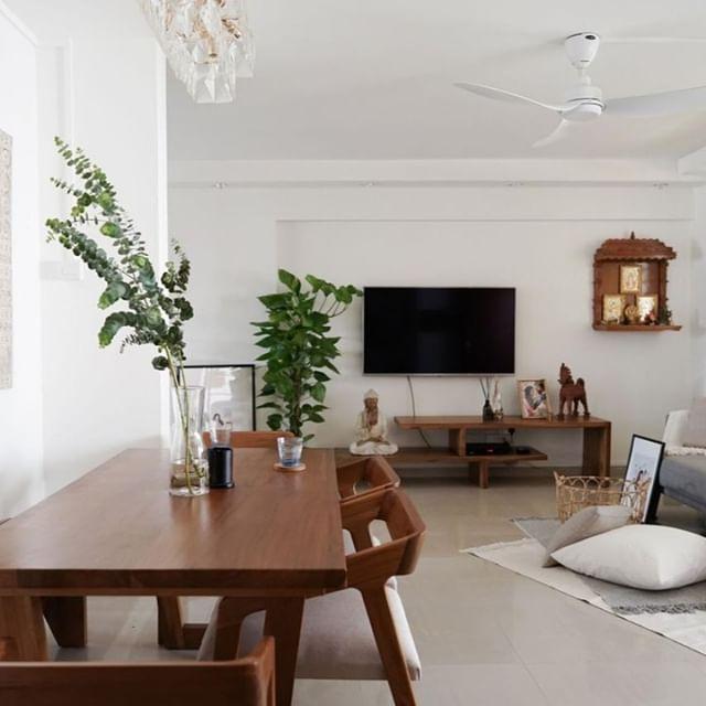 Qanvast Renovation Platform On Instagram Of Walnut Furniture Neutral Tones And House Plants Plants Bring A Touch Walnut Furniture Living Room Furniture